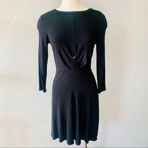 Aqua ribbed black mini dress with keyhole S • NWT